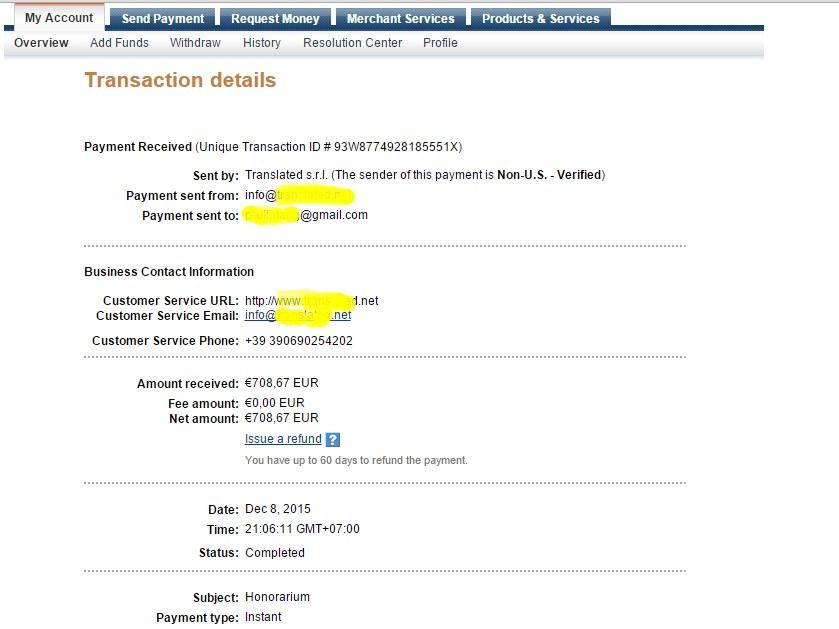 Payment PayPal dari mitra PayPal