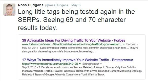 Perubahan karakter judul artikel pengaruh pada SERP Google